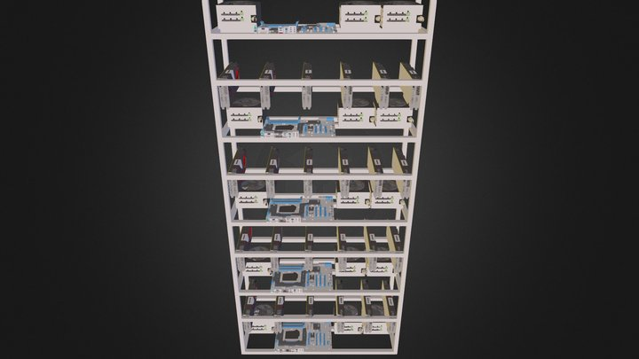 Crypto currency mining hardware 3D Model