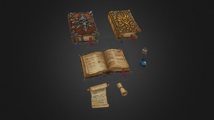 Scrolls & Books (Hand Painted) 3D Model