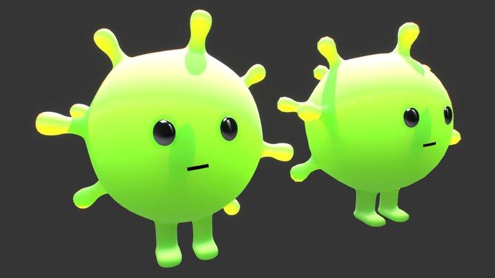COVID-19 (CoronaVirus) Cartoon Character 3D Model