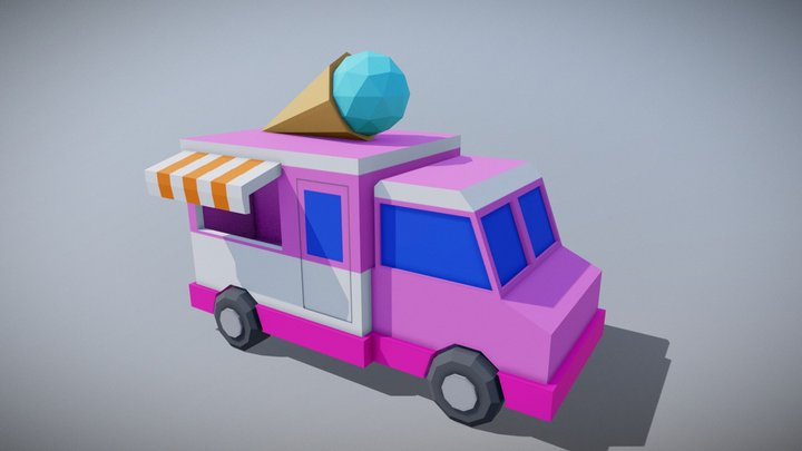 Low Poly Ice Cream Truck. 3D Model