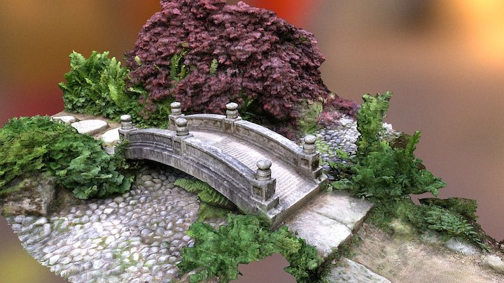 Bridge and Japanese garden 3D Model