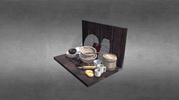 Wooden dishes 3D Model