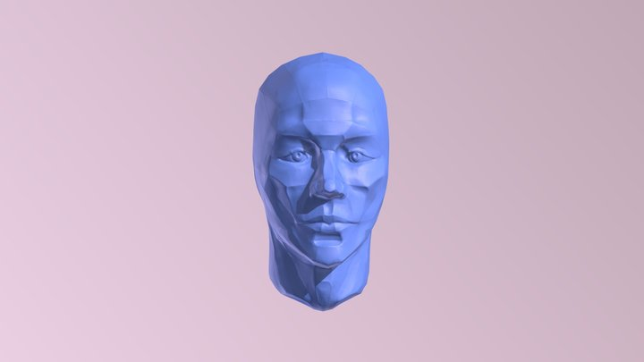 Head with Planes - Low Poly 3D Model
