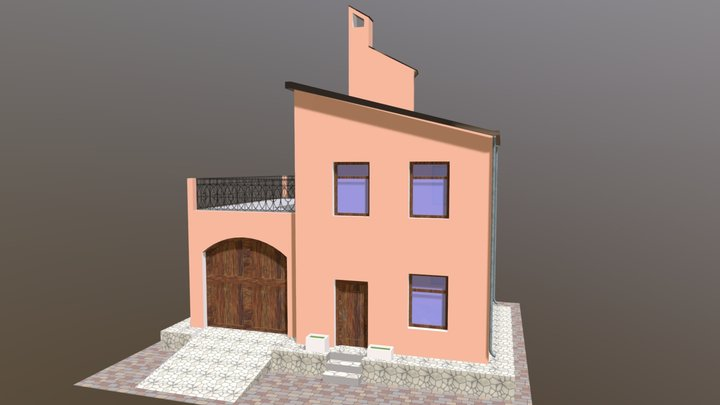 Half-Roofed House 3D Model