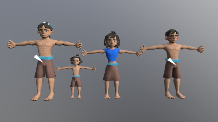 Hopi Of The Sea - T-Pose characters 3D Model