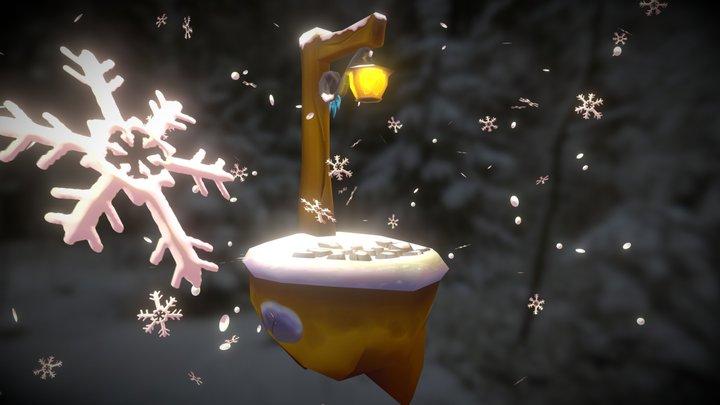 Snowy Lamp Scene 3D Model