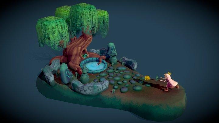 The Frog Prince: Fairytale Scene 3D Model