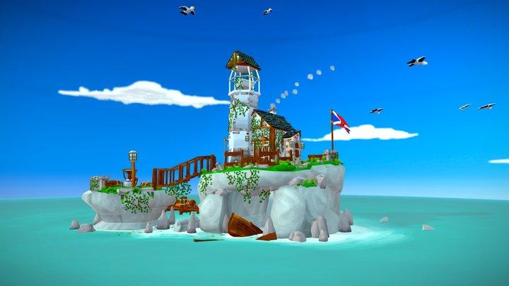 Lighthouse Island Diorama - Seafarers Paradise 3D Model