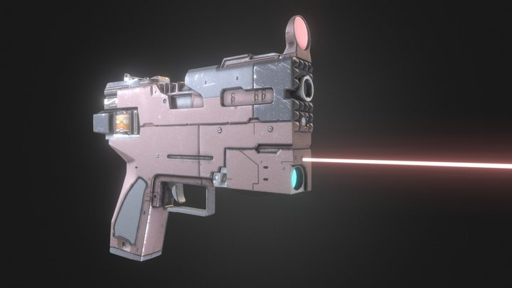 SciFi Laser Weapon Low Poly PBR 3D Model