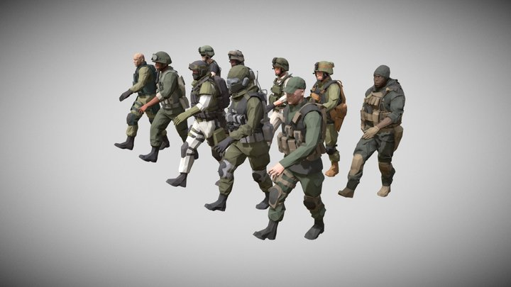 Low poly Army Man Character Pack Animated 3D Model