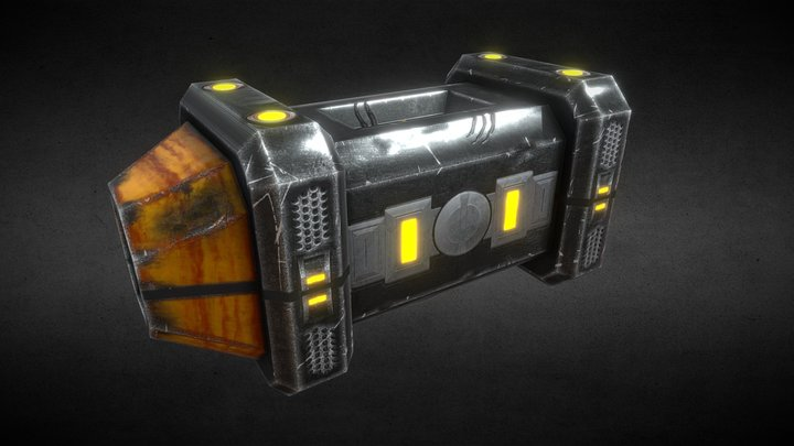 Sci-Fi Crate (Damaged) 3D Model