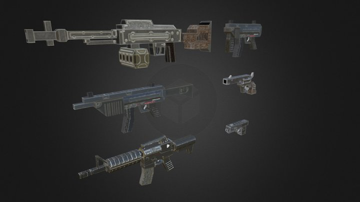 Low poly weapons 3D Model