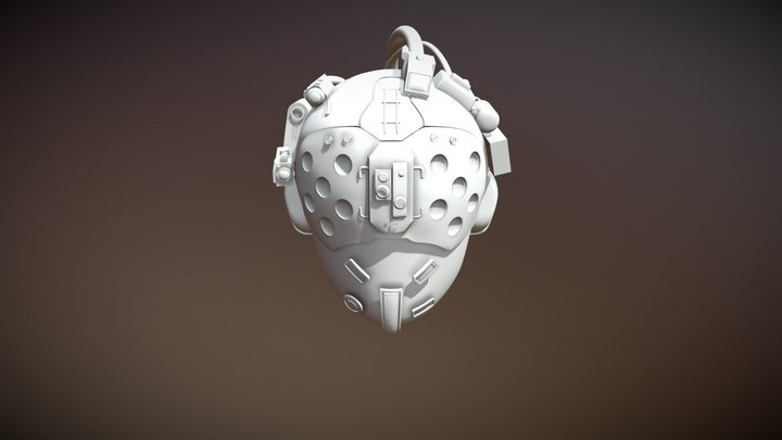 Cyber Punk 2077_MedTeamHelmet_BlueChin_Detailed 3D Model
