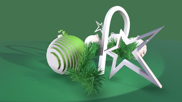 CHRISTMAS on green background 3D Model