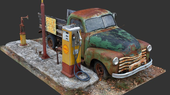 Old Truck and Gas Pumps (Raw Scan) 3D Model