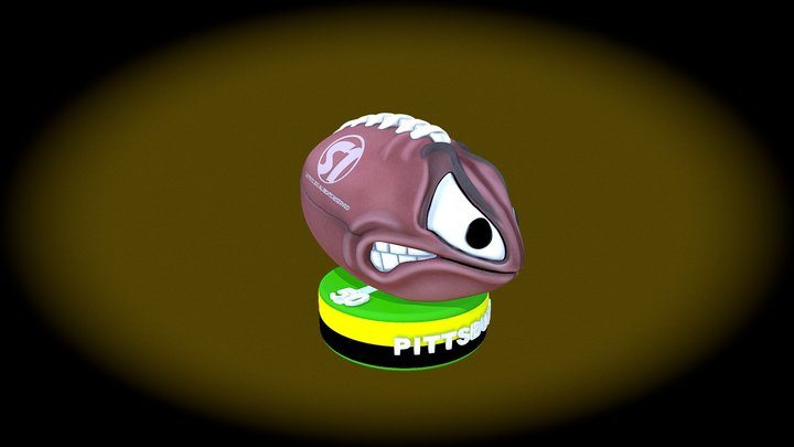 Angry Football Color 3D Model