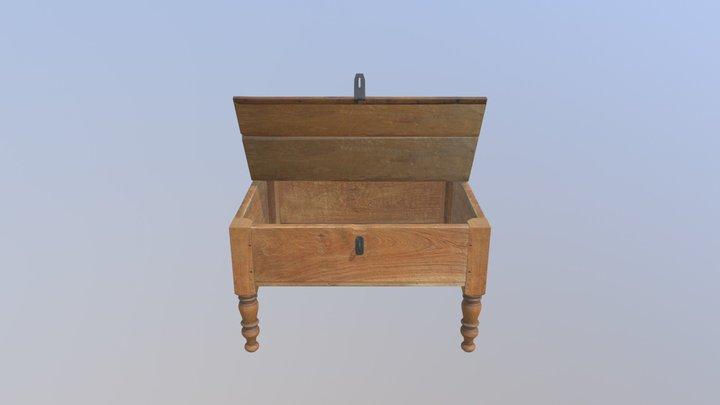 Brown Desk Open Pose 3D Model