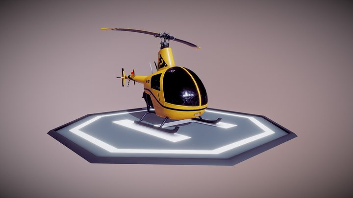 Stylized R22 Helicopter 3D Model
