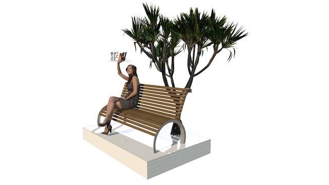 BANC avec dos métal bois 3D Model