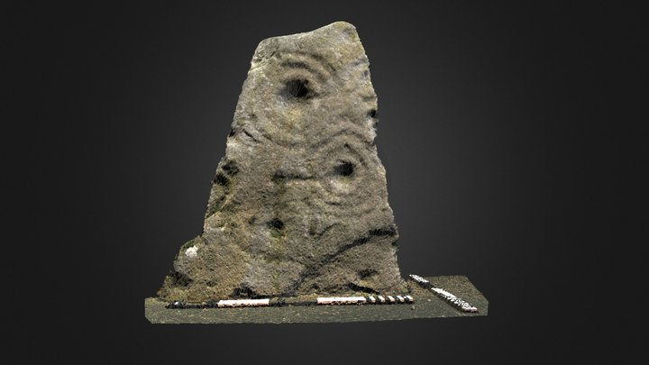 Prudhoe Castle cup & ring marked stone 3D Model
