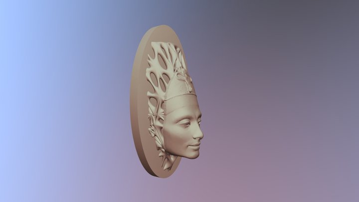 Nefertiti Full Face + Voronoi Support 3D Model