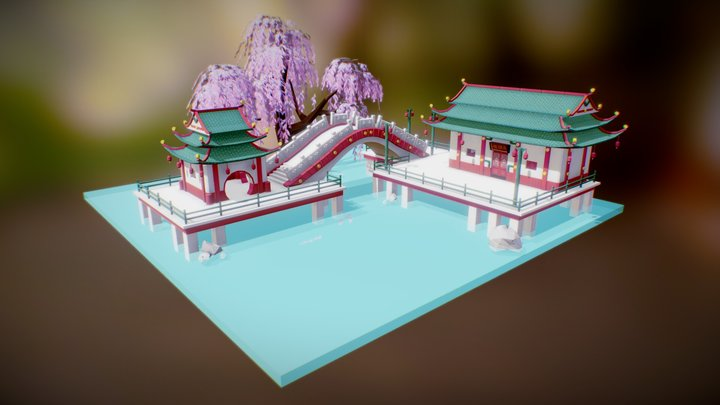 Low Poly Chinese Modular Buildings 3D Model