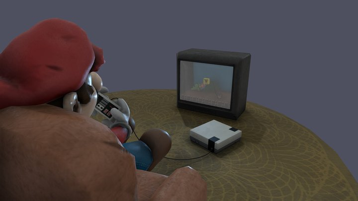 Mario playing Super Mario 3D Model