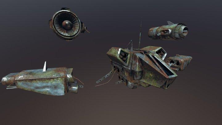 Crashed Reconnaissance Drone 3D Model