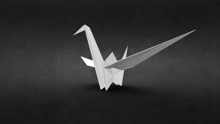 3D Origami crane 3D Model