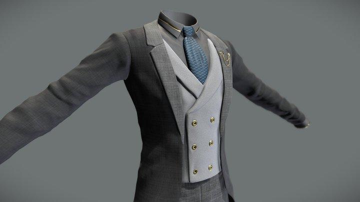 Fancy Tailcoat Suit 3D Model