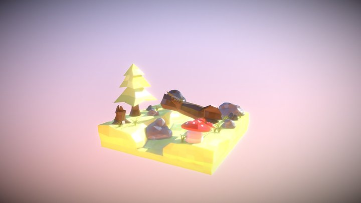 LowPoly Forest 3D Model