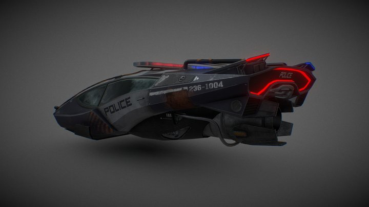 Dystopian police car 3D Model