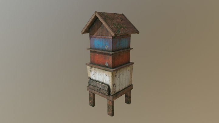 LOW POLY Rustic Bee Hive 3D Model