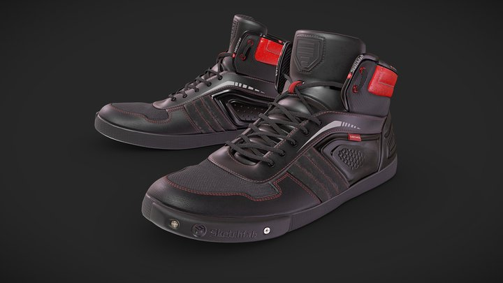 Motorcycle Riding Shoes 3D Model