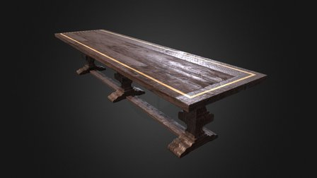 Pedestal Trestle Table With Inlay 3D Model