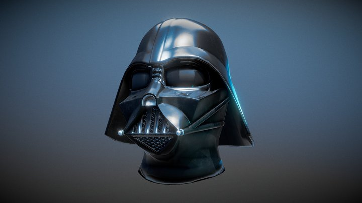 Darth Vader low poly helmet 3D Model