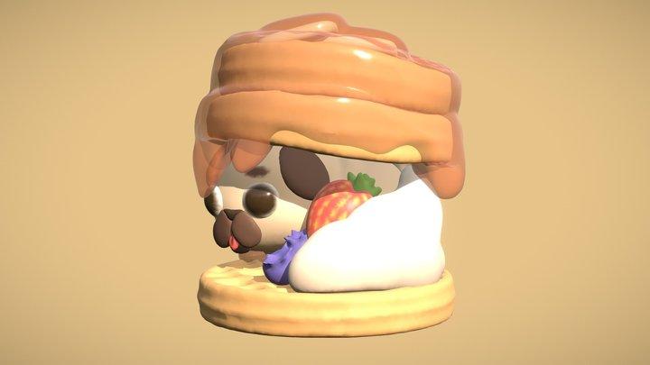 Cute Pug Waffles 3D Model