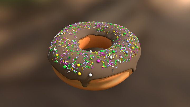 Chocolate Donut with Sprinkles 3D Model