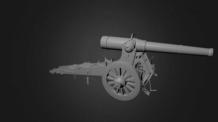 French 155 mm Cannon - WWI 3D Model