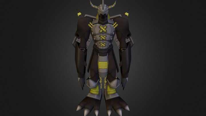 Black War Greymon 3D Model