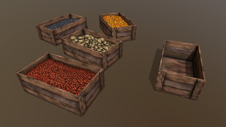 Crate with fruits and potatoes 3D Model