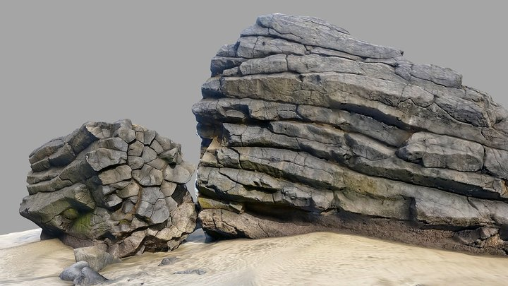 Basalt rocks on beach 3D Model