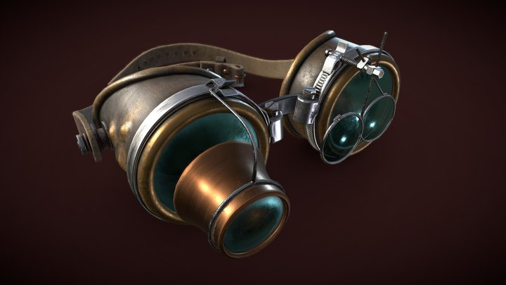 Steampunk Goggles   Game Asset Pipeline 3D Model