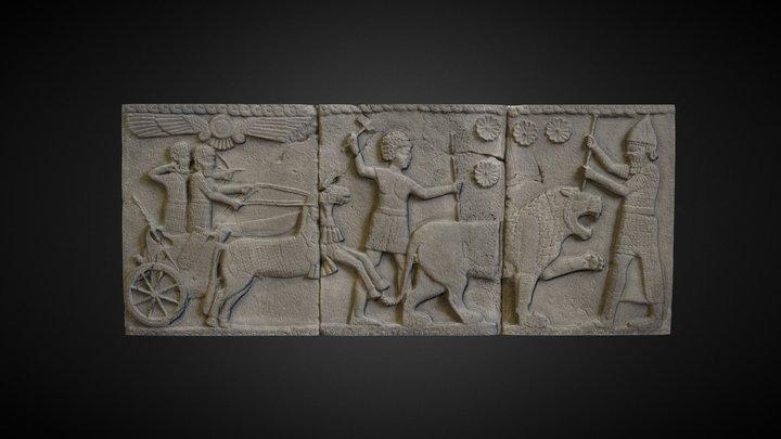 Neo-Hittite Hunting Scene Relief 3D Model