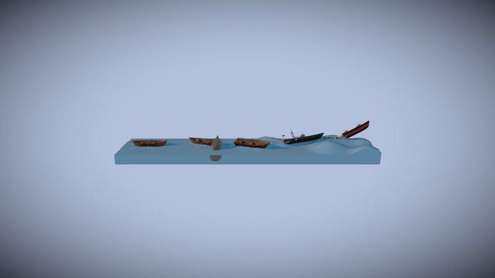 Draft_5Boats 3D Model