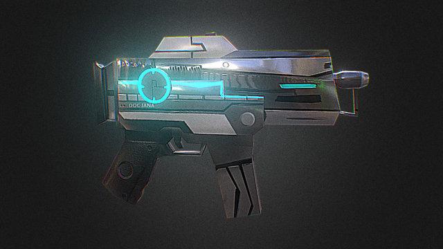 Low Poly Futuristic Sci Fi Sub Machine Gun 3D Model