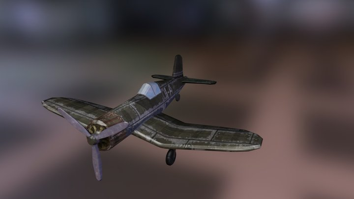 Lowpoly F4U-1 Corsair plane 3D Model