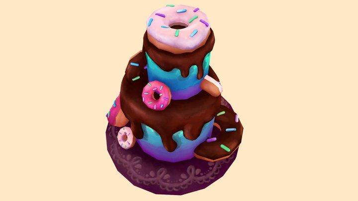 Donut Cake 3D Model