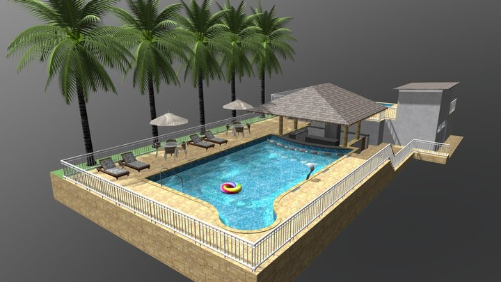 Piscina aquecida com bar molhado 3D Model