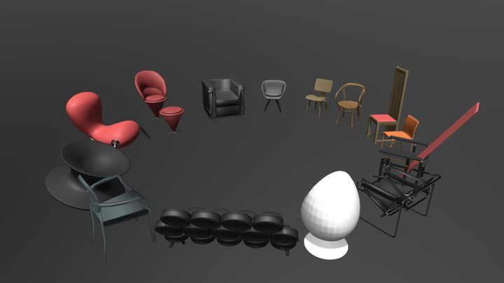 Architectural Chairs 3D Model